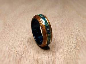 Expedited: Mahogany with Cold Black Opal and Black Epoxy Ring