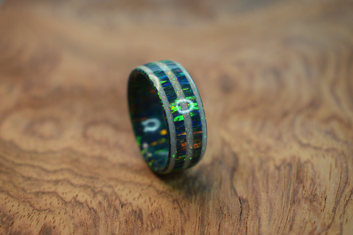 Solid Cold Black Opal Ring with Triple White Opal Inlays