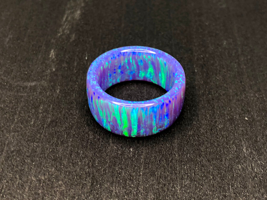 Custom: Periwinkle Fire Solid Opal Ring