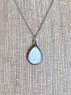 Snowy White Opal Necklace