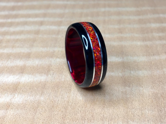 Black Wood with Crushed Red Fire Opal Ring