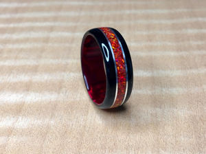 CUSTOM: Black Wood with Crushed Red Fire Opal Ring