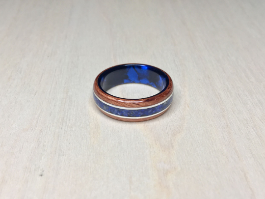 Bubinga with Lapis lazuli and Blue Epoxy Core Ring