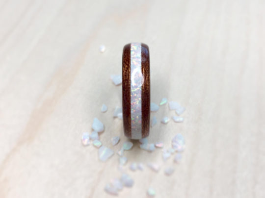 Quarter Sawn Sapele with White Opal and Tungsten Core Ring
