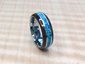 Walnut Burl with Blue Opal and Tungsten Core Ring