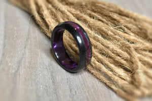 DISCOUNTED: Black Wood and Pearlescent Purple Epoxy Ring