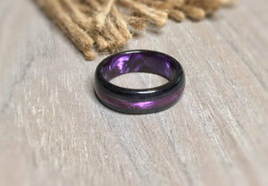 Black Wood and Pearlescent Purple Epoxy Ring