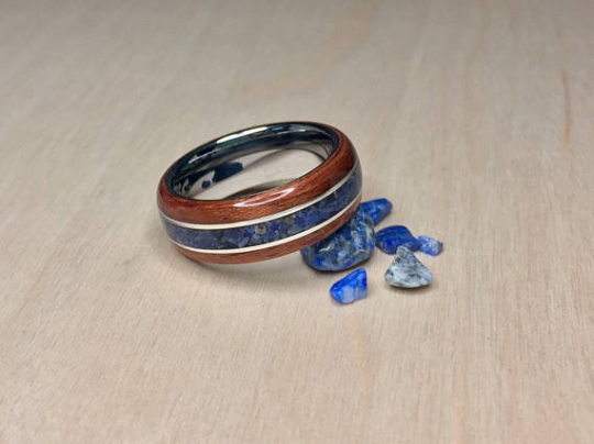 Bubinga with Lapis Lazuli and Tungsten Core Ring