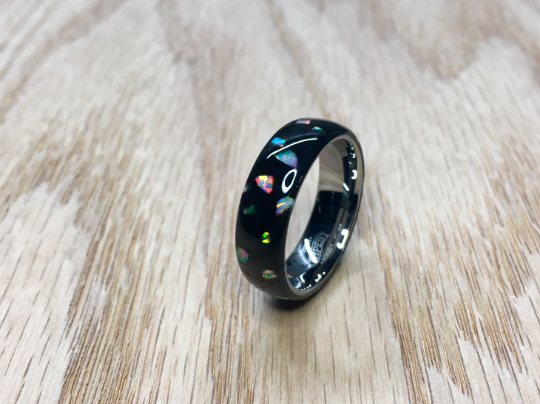 Galaxy Cluster White Opal Ring