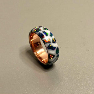 Custom Glow/White pearl Galaxy Cluster Copper Ring
