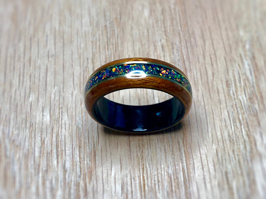 CUSTOM: Mahogany with White Opal and Black Epoxy Ring