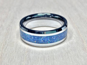 Tungsten With White Opal Lapis And Pyrite Ring