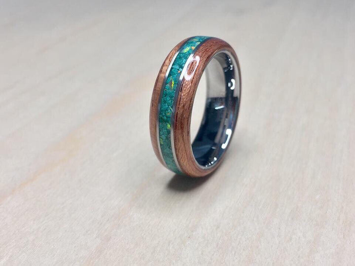 CUSTOM: Bubinga with Malachite/white opal inlay, sterling silver banding and tungsten core