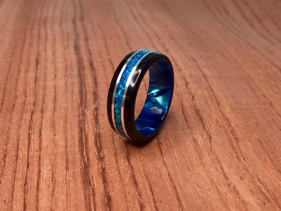 Black Wood with Crushed Blue Opal Ring