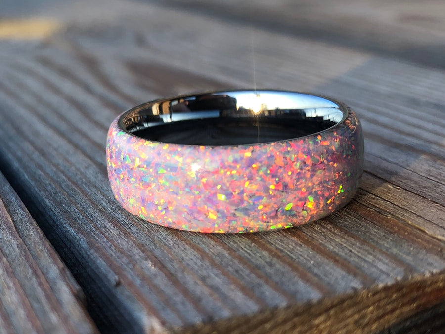 Lavender and White Opal with Tungsten Core Ring