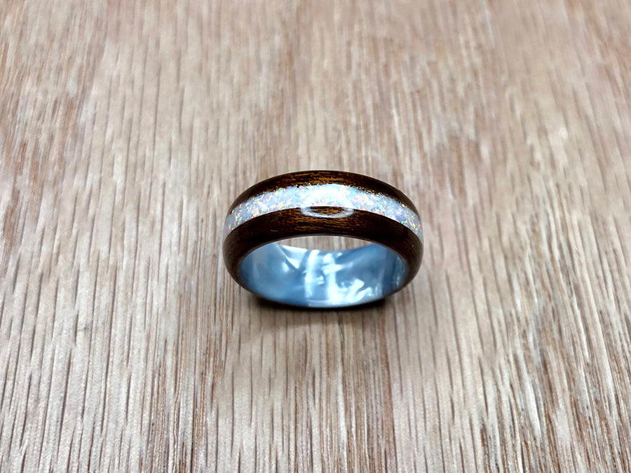 Quarter Sawn Sapele with White Opal and White Pearlescent Epoxy Ring