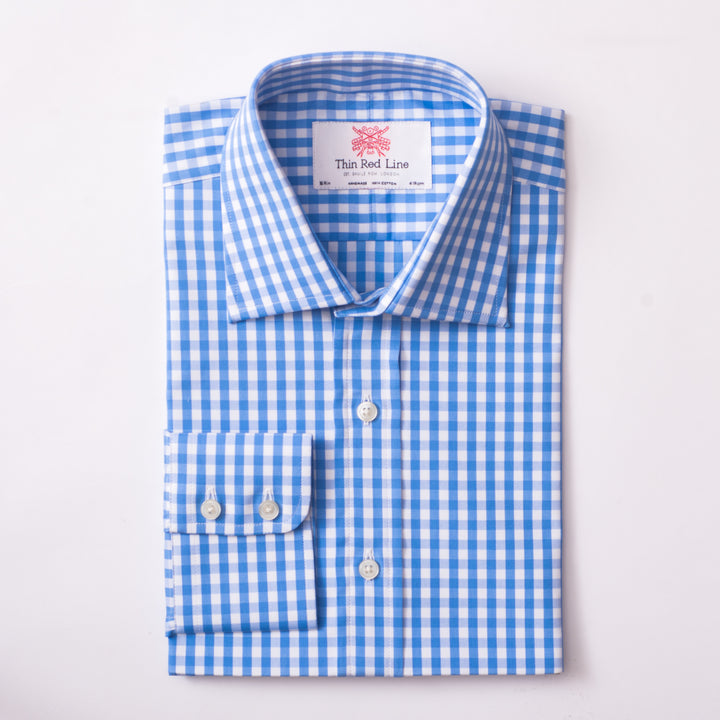 WILD GINGHAM CHECK BLUE SLIM SHIRT