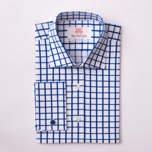 ORSTON CHECK BLUE & WHITE SLIM SHIRT