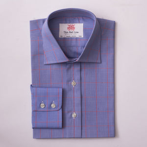 PRINCE OF WALES BLUE & RED CHECK SLIM SHIRT
