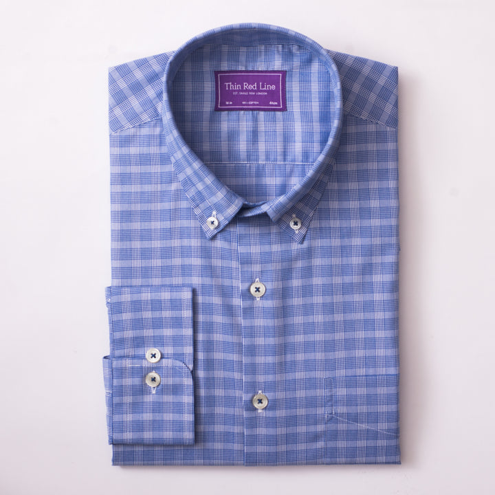 PRINCE OF WALES ROYAL BLUE CASUAL SHIRT