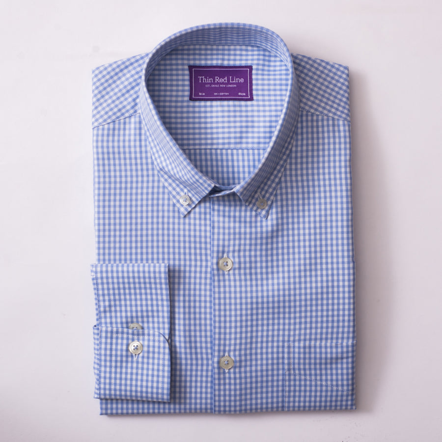 TWILL GINGHAM CHECK SKY CASUAL SHIRT