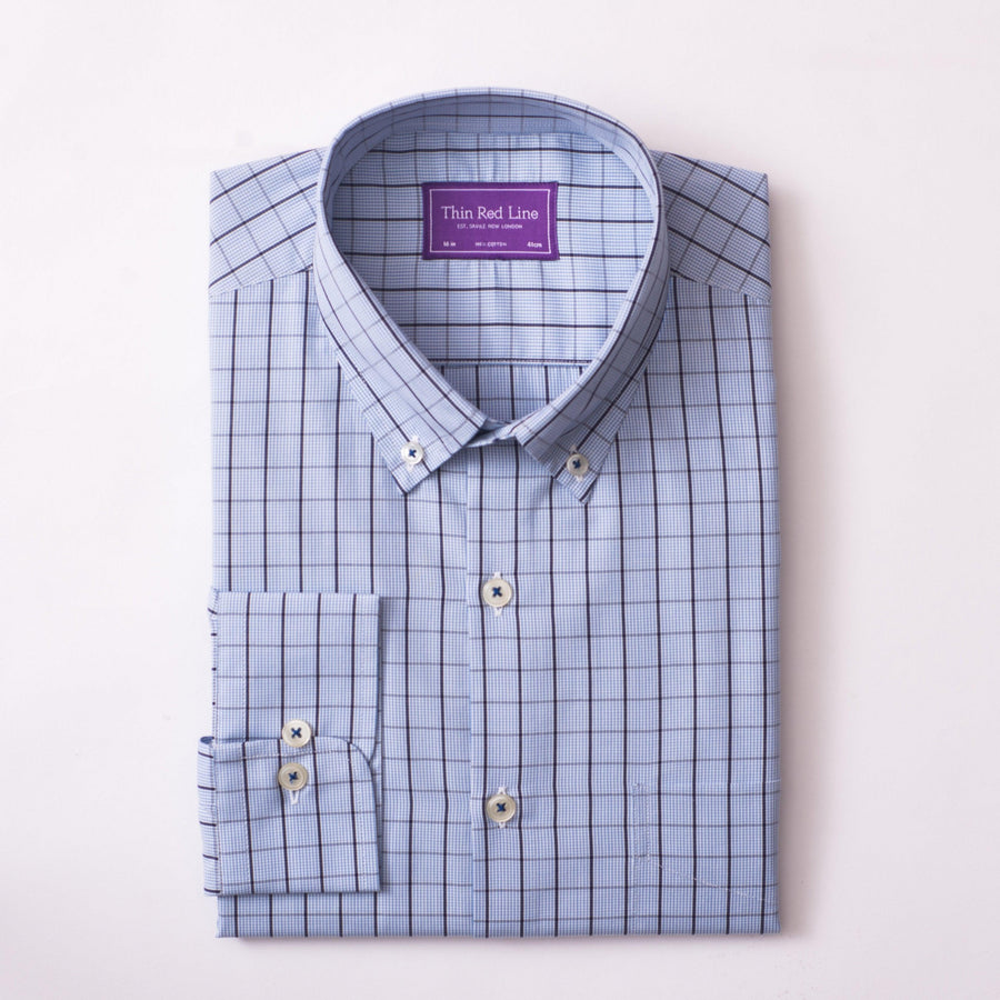 GINGHAM OVERCHECK SKY CASUAL SHIRT