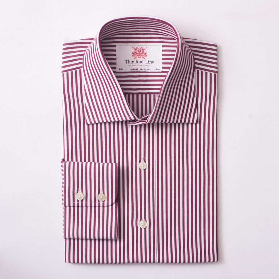 BENGAL STRIPE BURGUNDY & WHITE CLASSIC SHIRT - Thin Red Line