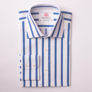 ASCOT STRIPE WHITE & NAVY CLASSIC SHIRT - Thin Red Line
