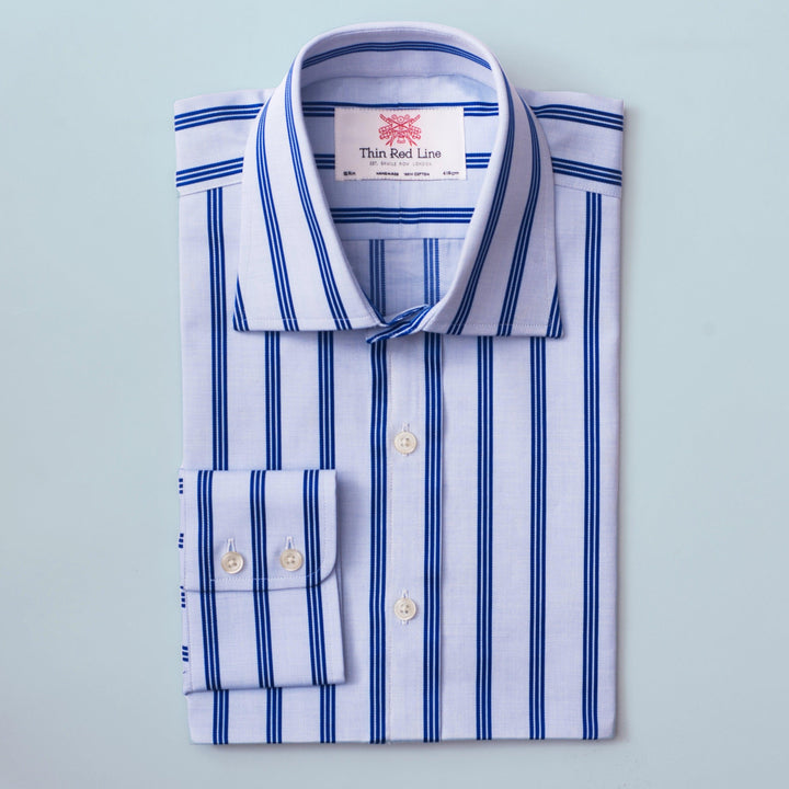 ASCOT STRIPE SKY & NAVY CLASSIC SHIRT - Thin Red Line