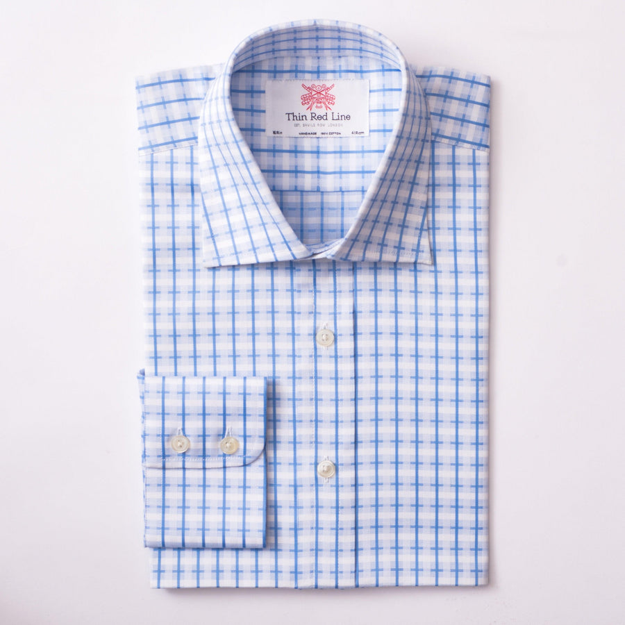 COTSWOLD CHECK SKY & WHITE SLIM SHIRT