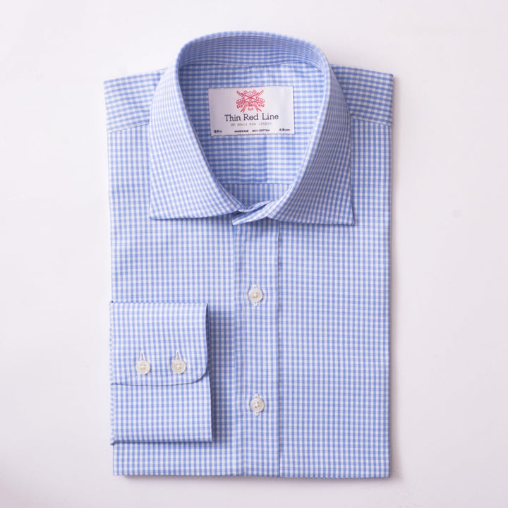 PENCIL CHECK WHITE & SKY CLASSIC SHIRT