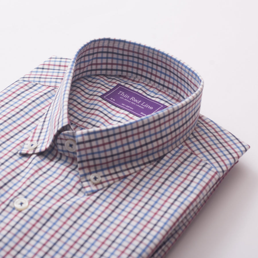 RAINBOW CHECK BURGUNDY CASUAL SHIRT - Thin Red Line