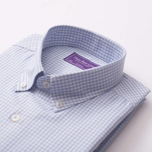 TWILL GINGHAM CHECK SKY CASUAL SHIRT - Thin Red Line