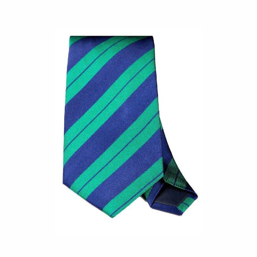 GREEN & NAVY STRIPE WOVEN SILK TIE