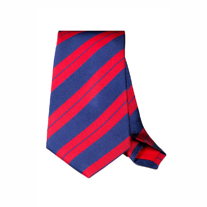 Red and Navy Stripe Woven Silk Tie