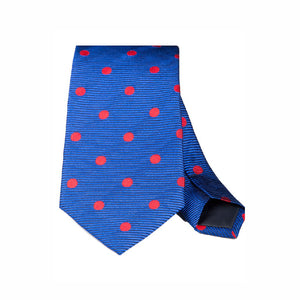 BLUE WITH LARGE RED POLKA DOT WOVEN SILK TIE