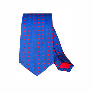 BLUE WITH RED BEAN WOVEN SILK TIE