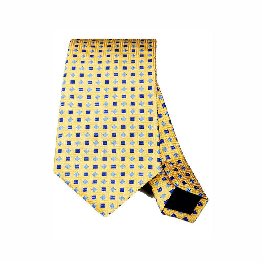 YELLOW WITH SKY & BLUE SQUARES SILK TIE