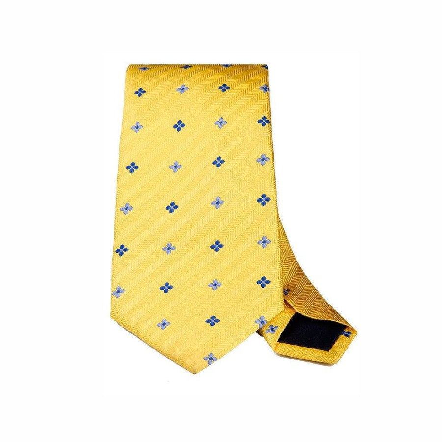 HERRINGBONE YELLOW FLORAL WOVEN SILK TIE