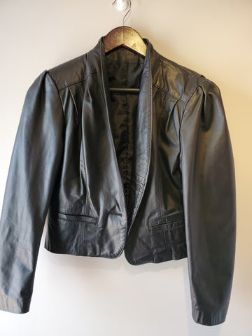 vintage leather jacket cropped made in the USA eighties 80s