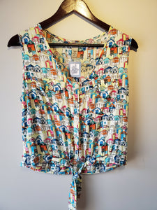 vintage button down tank top 1980s eighties fashion