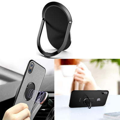 1.8MM Super Thin Phone Ring Holder Finger Kickstand Metal Ring Grip for Magnetic Car Mount Compatible with All Smartphone (Black) Black
