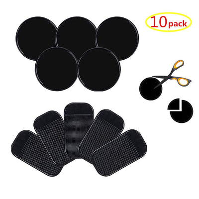 10pack Fixate Removable Silicone Sticky Cell Pad Anti-Slip Gel Pads Magic Gel Mat Stick to Car Dashboard Glass Mirrors Metal Tile Walls Kitchen Cell Phone Stand Recipe Holder Non-Slip Rug Pet Bowl Mat 10pcs black pad