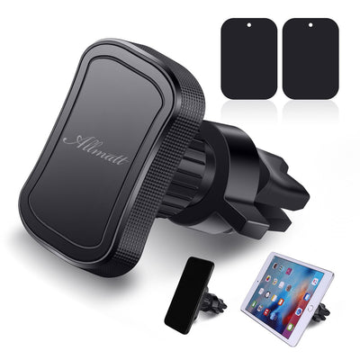 1 Set GPS Vent Tablet Air Vent Mount Car Phone Holder W/2pcs Metal Magnet Plates, Universal Car Mount Cell Phone Holder, Car Phone Mount ,Compatible With Samsung Galaxy S7 Iphone 7 6 8 SE X GPS Tablet
