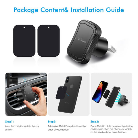 1 Pack Universal Hook Air vent Magnetic Car Mount Holder W/ 2pcs Metal Magnet Plates,GPS Air Vent Mount,Garmin Magnetic Vent Mount Compatible with GPS Tablet iPhone X 8 7 6 Samsung Galaxy