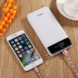 meiyi 20000mAh Quick Charge Power Bank, QC 3.0 Portable Battery Charger with 3 USB Output Ports, LED Display QC 2.0 Input External Battery Pack for iPhone iPad Samsung Android Phones - White