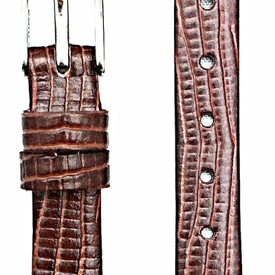 10mm Dark Brown, Flat, Elegant Genuine Leather Watch Band | Tail Lizard Grained Replacement Wrist Strap That Brings New Life to Any Watch (Womens Standard Length)