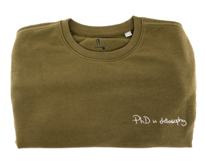 PhD in chillosophy (Sweater) || Khaki / White