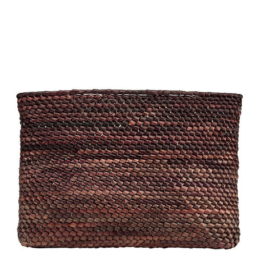 BSB3719- WOMEN'S PALMS STRAW CLUTCH  -  BROWN   -  WOMENS O/S
