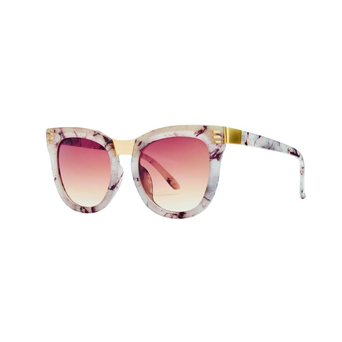 Square Cream Tortoise Metal Sunglasses